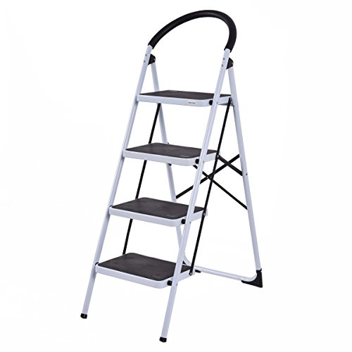 Giantex 4 Step Ladder Folding Stool Heavy Duty 330Lbs Capacity Industrial Lightweight