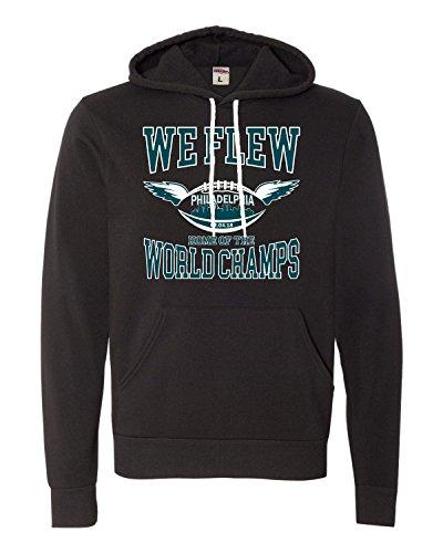 Large Black Adult We Flew Philadelphia World Champs Football Deluxe Super Soft Sweatshirt Hoodie