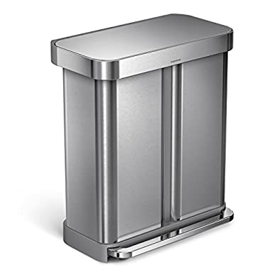 simplehuman Liner Rim Dual Bucket Rectangular Recycling Step Trash Can with Liner Pocket, Stainless Steel, 58 Liter / 15 Gallon