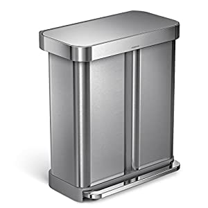 simplehuman liner rim dual bucket rectangular recycling step trash can with liner. Black Bedroom Furniture Sets. Home Design Ideas