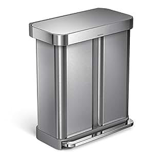 simplehuman 58 liter 15 3 gallon stainless steel dual compartment rectangular. Black Bedroom Furniture Sets. Home Design Ideas