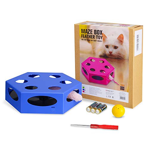 WingPet Interactive Cat Toys - Automatic Cat Exercise Teaser Toy with Worm Tail & Catnip Ball Random Rotating, Pet Kitten Toys for Entertainment Play (Auto Off Timer, Battery Included) 8