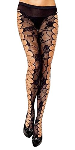Women's Sexy Fishnet Stockings Spiderweb Skull Mesh Black Lace Pantyhose (Sexy Spider)