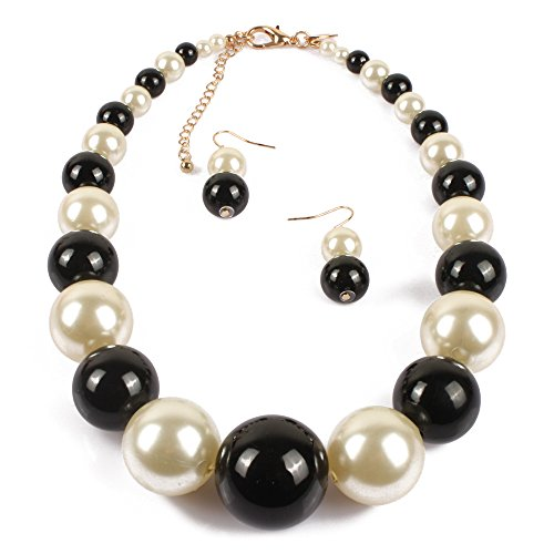 KOSMOS-LI Large Style Big Faux Pearl Strand Choker Necklace with Earrings Set