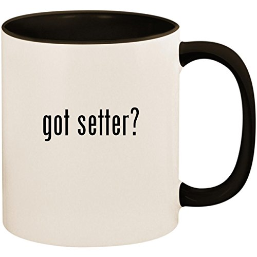 (got setter? - 11oz Ceramic Colored Inside and Handle Coffee Mug Cup, Black)