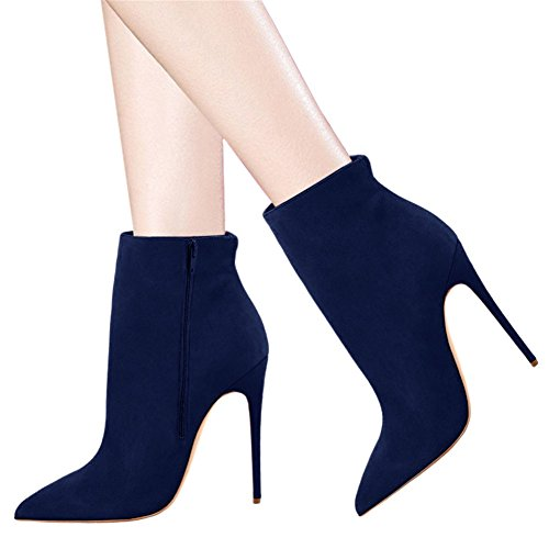 High Pointed Heels Closed Suede Stilettos Booties Ankle Dress Toe Women's faux Blue Shoes VOCOSI Boots YxUqFwC1E