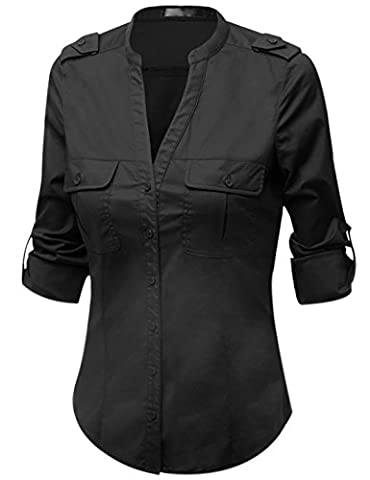 Gihuo Roll Up Long Sleeve Button Down Cotton Shirt with Stretch (Large, Black) - Co Black Denim