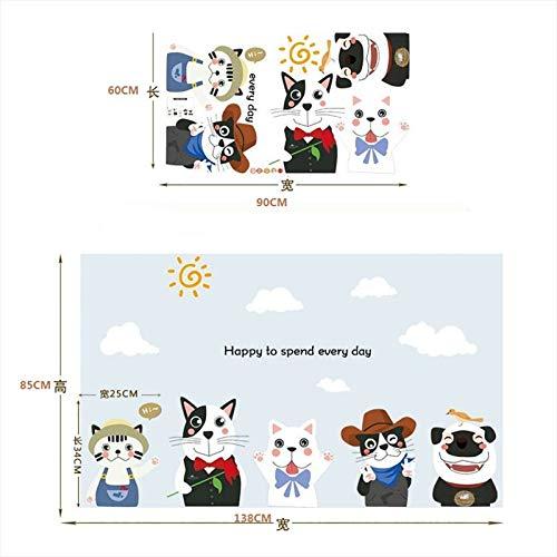 1 piece Cartoon Puppy Kitten Wall Stickers Wallpaper