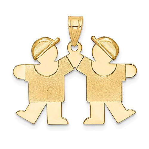 14k Yellow Gold Solid Double Boys Engravable Pendant Charm Necklace Disc Boy Front Facing Fine Jewelry Gifts For Women For -