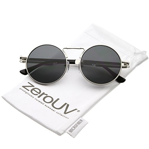 zeroUV - Modern Steampunk Unique Nose Piece Flat Lens Circle Sunglasses 49mm (Silver / - Somewhere Sunday Sunglasses