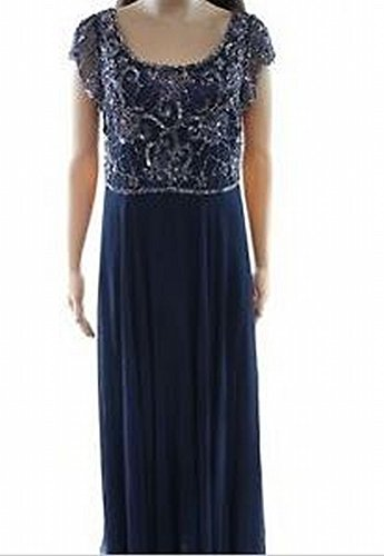 J Kara Navy Beaded Women's Petite Sequin Gown Blue 6P