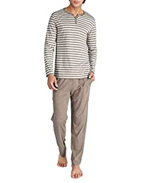David Archy Men's Cotton Striped Sleepwear Long Sleeve Top and Bottom Pajama Set