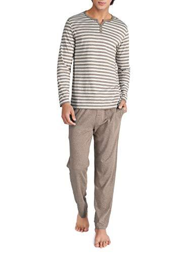 David Archy Men's Cotton Heather Striped Sleepwear Long Sleeve Top & Bottom Pajama Set (Heather Dark Coffee, L) ()
