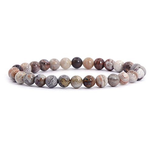 Natural Mexican Lace Agate Gemstone 6mm Round Beads Stretch Bracelet 6.5