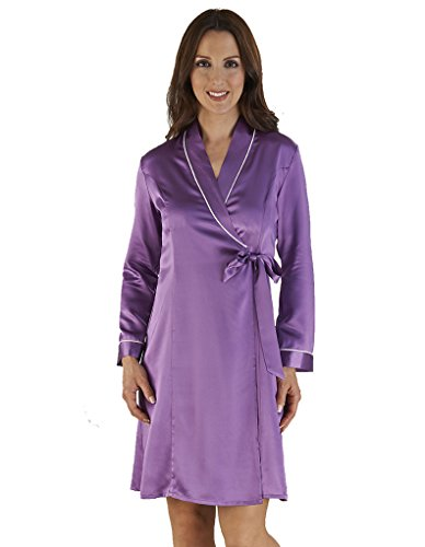 Slenderella Purple Silk Kimono Wrap with Ivory Taping HC04417
