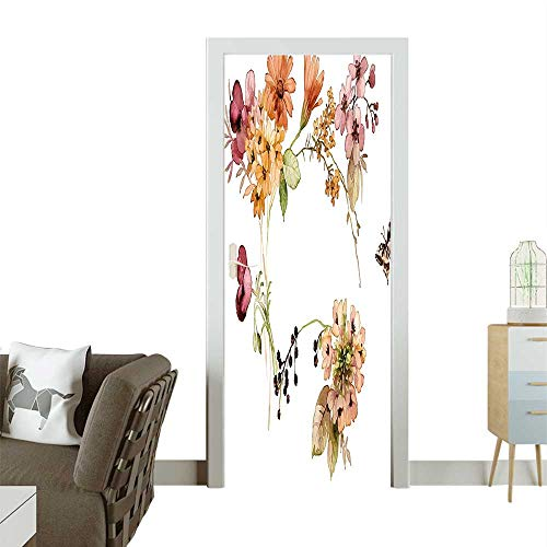 (Homesonne Door Sticker Wallpaper Flower Bouquet Watercolors Gerbera Poppy Daisy Compositi Fashion and Various patternW31 x H79 INCH)