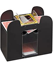 Relaxdays 10021345 elektrische kaartenschudder, 6 decks, werkt op batterijen, kaartenschudmachine, f. Poker, Rommé en Skat, zwart