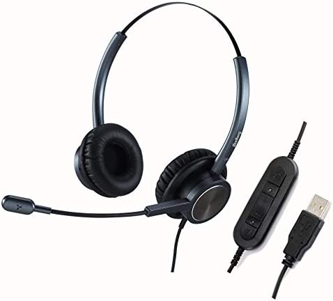 Beebang USB HeadsetMicrophone Noise Cancelling PC Headset w/Mic Mute Volume Control for Office Call Center Skype Chat Voice Recognition Light Weight Comfortable Computer Headphone