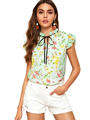 WDIRARA Women's Summer Tie Neck Floral Print Cap Sleeve Frill Trim Blouse Top Green S - Frill Sleeve Top