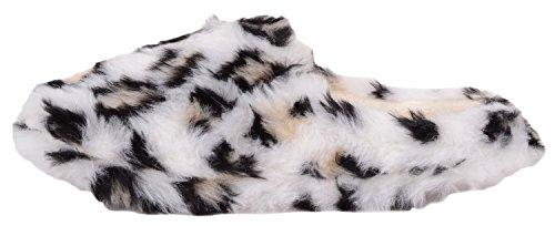 Dames / Femmes Glisser Sur Des Pantoufles / Mules / Chaussures Dintérieur Avec Imprimé Animal Imprimé Blanc