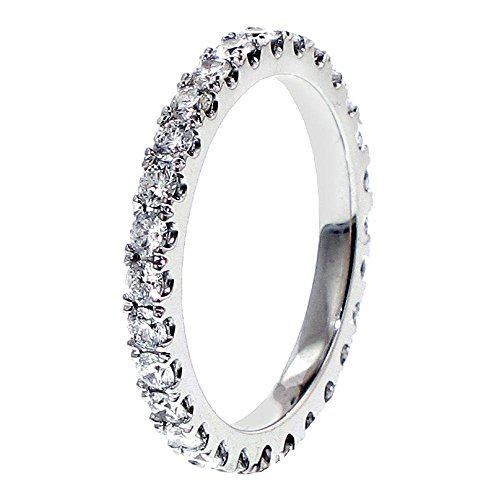 Platinum Pave Set Brilliant Cut Diamond Eternity Wedding Band (1.00 1.35 CT TDW)
