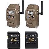 Cuddeback CuddeLink J Series Networked Long Range IR Trail Camera Set of 2 with 2 16GB Card