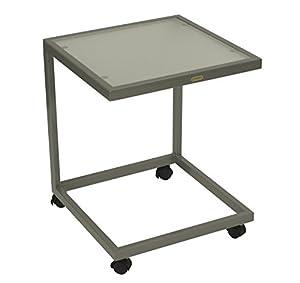Beistelltisch rollbar 45x45x55cm, Stahl silber + Sicherheitsglas