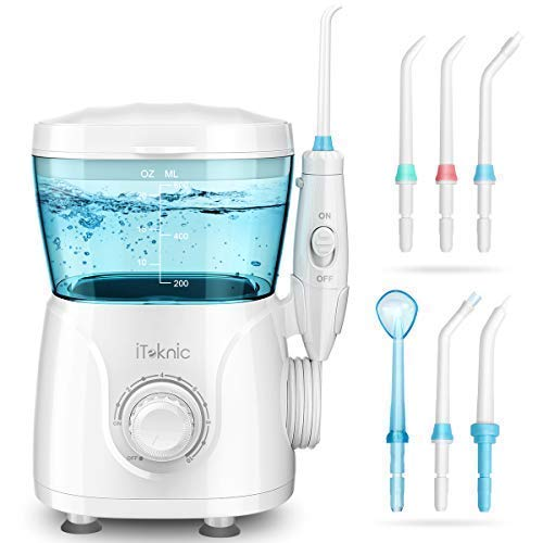 iTeknic Water Dental Flosser Electric Oral Irrigator for Teeth Clean with 1m Imported Soft Hose, 600ml Capacity, 7 Multifunctional Jet Tips , 10 Stepless Water Pressure Flosser for Family, FDA Approved