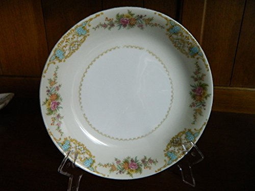 "Noritake ""M"" JAPAN Mystery 37 Yellow Blue Gold Floral bouquet China 7.25"" soup cereal bowl"