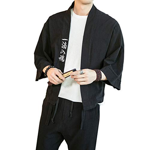 PRIJOUHE Men's Japanese Style Kimono Cardigan Jacket Cotton Blends Linen Seven Sleeves Solid Color Open Front Coat