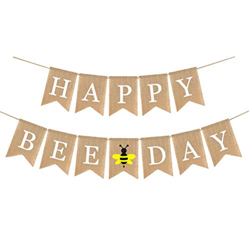 Burlap Banner Happy Bee Day Bunting Swallowtail Shaped Pull Flag Garland Summer Party Decoration Favor