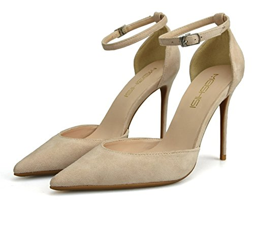 Fermer Talon Moyen Pointu À Zpl Sandales Cheville Stiletto Escarpins Casual Mariage Apricot Chaussures Haut Court Parti La Femme Sangle q8X1z1Y