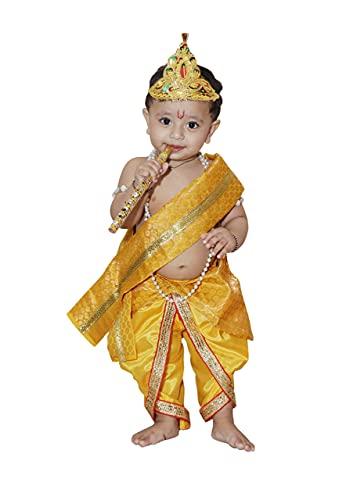 Raj Fancy Dresses Baby Krishna Brocade Fabric Janmashtami Mythological Character Costume 5