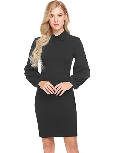 Blue Elegant to MIU Pencil Work Dress Women's Fit Dark Long Wear SE Sleeve Slim RBawOqExx