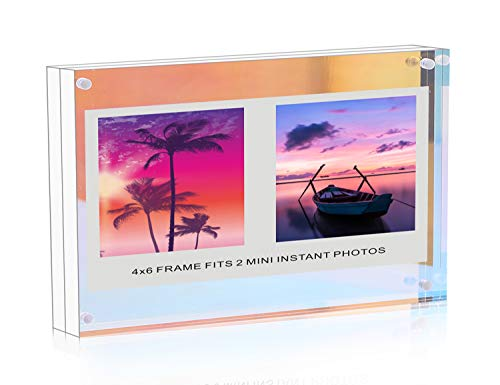 - WINKINE 4x6 Iridescent Acrylic Picture Frame Gift Box Package, Clear + Rainbow Double Sided Block Free Standing Desktop Photo Display
