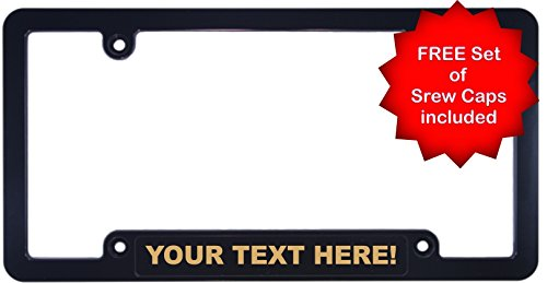 Custom Personalized CNC MACHINED BILLET ALUMINUM Black and Gold   1960 Legacy   CAR License Plate Frame ()