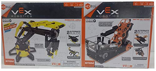 VEX Robotics: Robotic Arm and Hexcalator 2-Pack Kit with 2 Alternative Builds, Completely Functional Construction Kit Inspired by Real Industrial Robot Arms, Over 600 Pieces