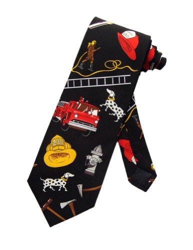Steven Harris Mens Firefighter Firemen Fire Necktie - Black - One Size Neck Tie (Cheap Firefighter Gifts)