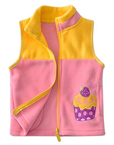 Happy Cherry Toddler Girls Fleece Vest Insulated Warm Lightweight Slant Pockets Cute Strawberry Sleevless Jacket 3-4T Pink