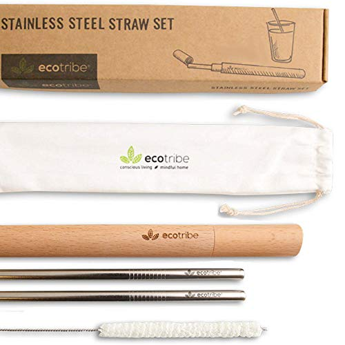 Reusable Metal Stainless Steel Straws: 2 Travel Reusable Straws + 1 Wooden Case + 1 Cotton Cleaning Brush + 1 Pouch, for Hot and Cold Drinks, Portable for Personal Use, 8.5 inches, by EcoTribe ()