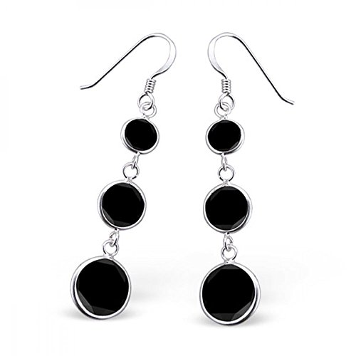 Sterling Silver Simulated Jet Hanging Circles Earrings with Cubic Zirconia (Jewel Jet)