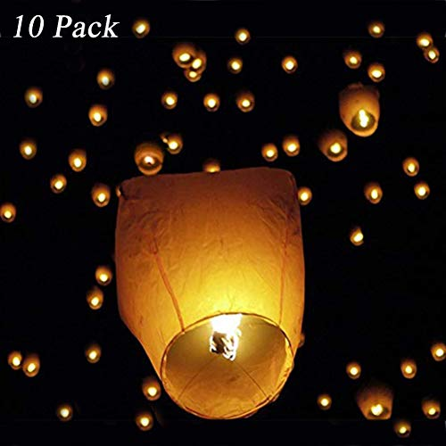 Sky Lanterns,Paper Lanterns Sky,Showerroshoes Kongming Lanterns(Set of 10,Wire-Free Eclipse, White),New Designed Environmentally Lanterns for Birthday, Wedding, Anniversary, Funeral, Memorial and More
