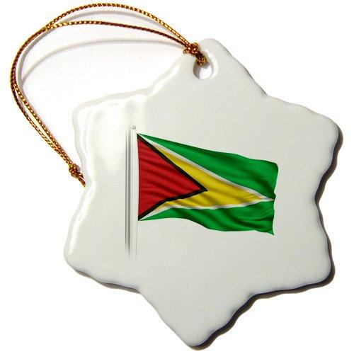 3-Inch 3dRose ORN/_157172/_1 Flag of Guyana on a Flag Pole Over White Guyanan Snowflake Ornament Porcelain