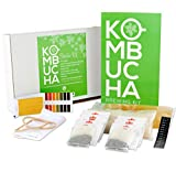 Kombucha Starter Kit. A Gift for Kombucha Lovers and Beginners- Includes Natural SCOBY in Starter Tea and much more- Brews a 1 Gallon Batch- by kitchentoolz