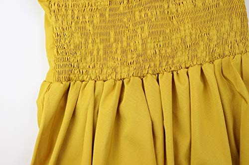 Front Swing V Button Dress 1603 Summer Midi Womens A Tie Neck Dresses ECOWISH Strap Down Line Spaghetti Backless Yellow Ginger zXI16n