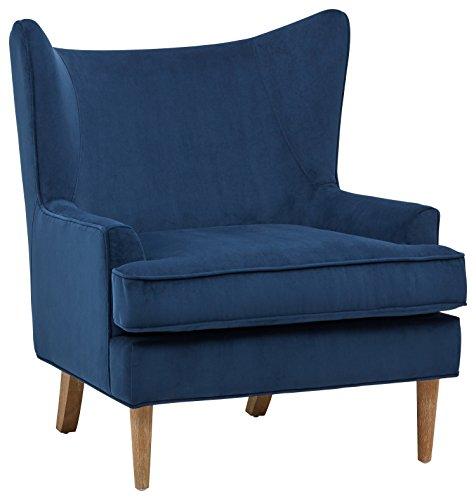 Rivet Chelsea Velvet Wing-Back Accent Chair, Navy