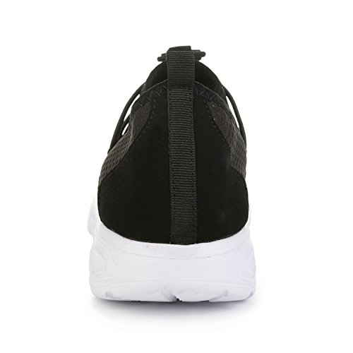 white Women's RUN Splice Suede Walking Flat Black Comfortable L Casual Shoes gSpnWpAq