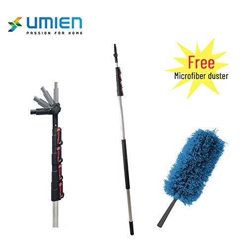 Extension Pole - Includes Free Feather Duster - Multi Functional Pole, Paint Roller, Light Bulb Changer, Duster Pole, Antenna Pole, Hanging Lights, Window and Gutter Cleaning ()