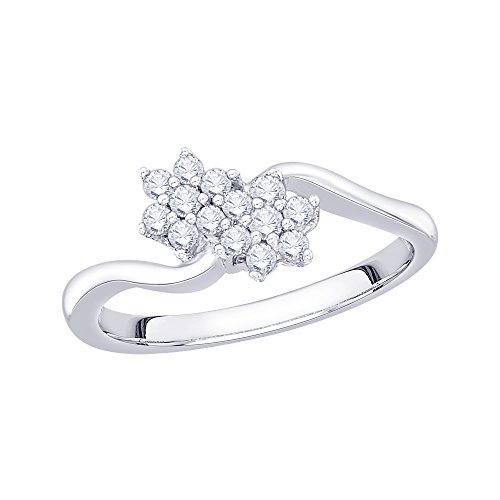 KATARINA Prong Set Floral Diamond Promise Ring in 14K White Gold (1/4 cttw, G-H, VS2-SI1) (Size-5) (Ring Diamond Promise Floral)