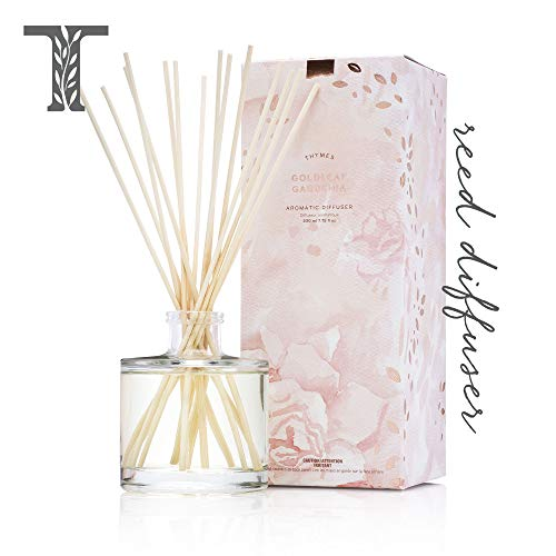 Thymes - Goldleaf Gardenia Aromatic Oil Reed Diffuser - Gift Set with Premium Sticks, Glass Bottle and Scented Oil - 6.5 oz